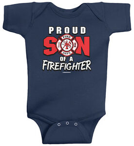 b3cb99b2c6f17 Threadrock Baby Proud Son of a Firefighter Infant Bodysuit Dad Daddy ...
