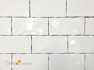 Image Is Loading Mano Gloss White Handmade Look 75x150 Subway Wall
