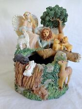 ANGEL MUSIC BOX with Water Fountain Plays AMAZING GRACE Animals Mountain Trees