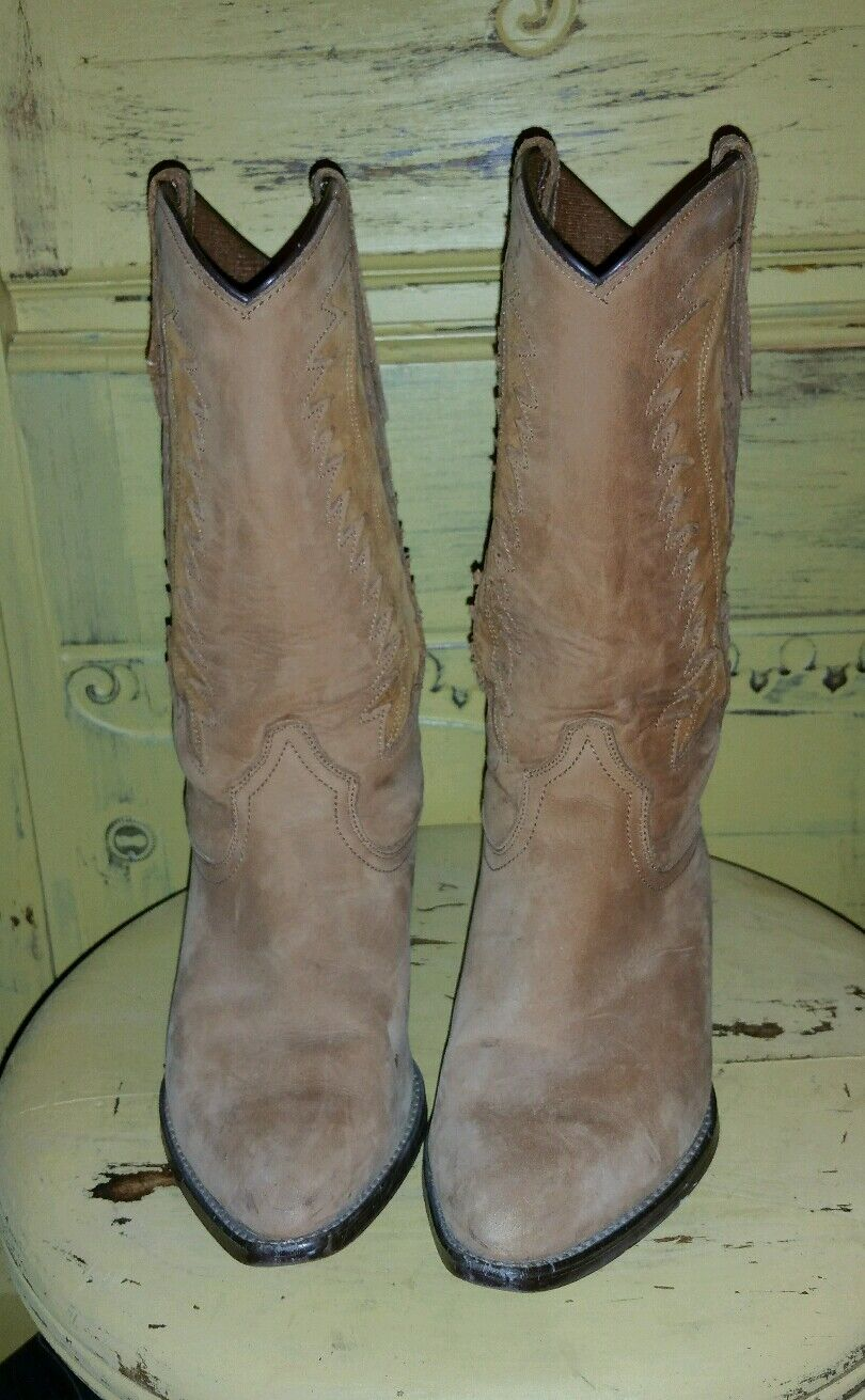 Dingo Dingo Dingo Vintage Nubuck occidental de Cuero Marrón Plana botas De Vaquero SNIP Toe 6.5 M  gran selección y entrega rápida