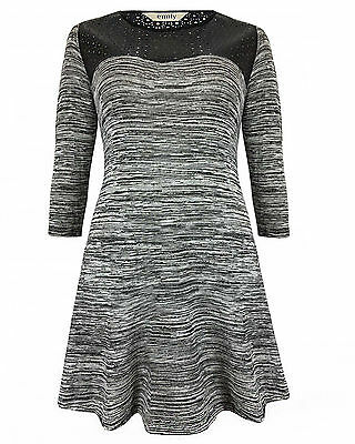 Emily Simply Be Grey Marl PU Leather Cut Skater Dress Plus Sizes 16 - 28