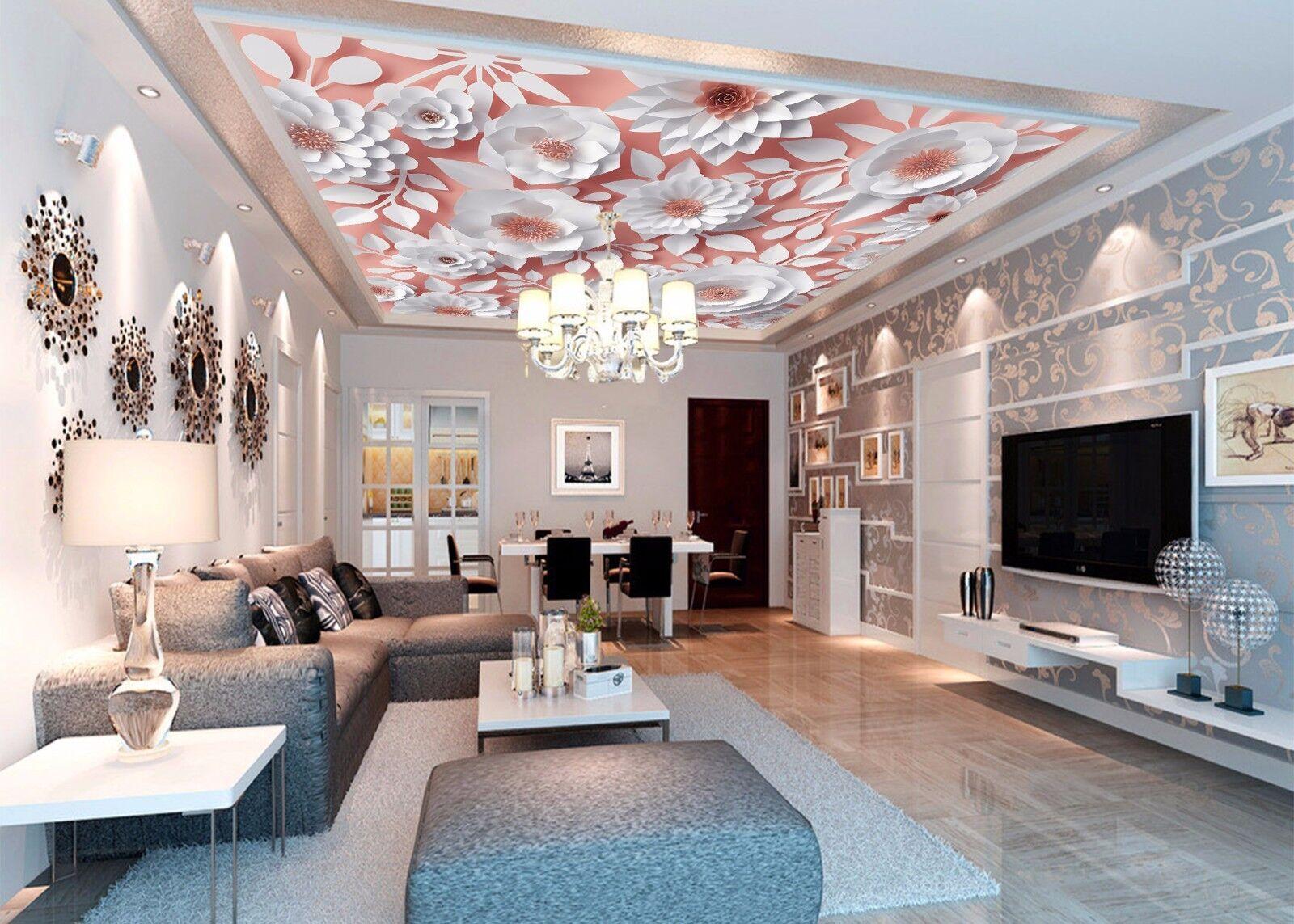 3D Weiß Flower 7 Ceiling WallPaper Murals Wall Print Decal Deco AJ WALLPAPER GB