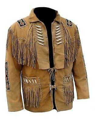 Men/'s Traditional Western cowboy Leather Jacket coat With Fringes Bone and Beads