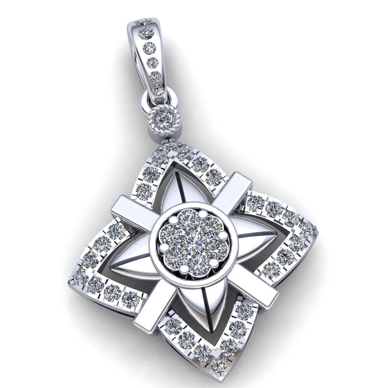 Genuine 2ct Round Cut Diamond Ladies Accent Cluster Star Pendant 18K gold