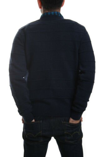 Edwin Standard Fine Stripe Lambs wool Jumper in Navy Blue Marl SALE RRP £49.99