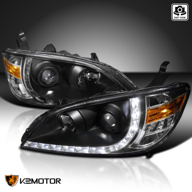 For 2004 2005 Honda Civic 2 4dr Black Projector Headlights Led Drl Strip