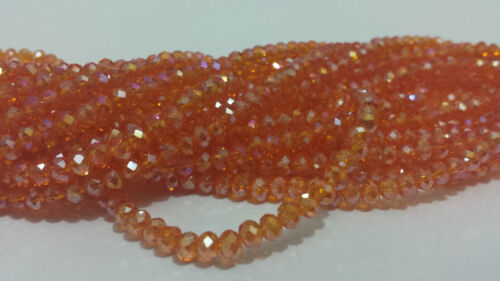100Faceted Rondelle Crystal Glass Beads Loose beads 3x4mm Jewelery making62color