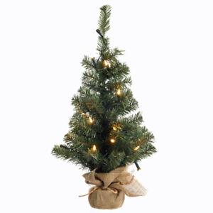 50-LED-Weihnachtsbaum-gruen-kuenstliche-Tanne-Tannenbaum-Christbaum-Jute-Fuss-85-cm