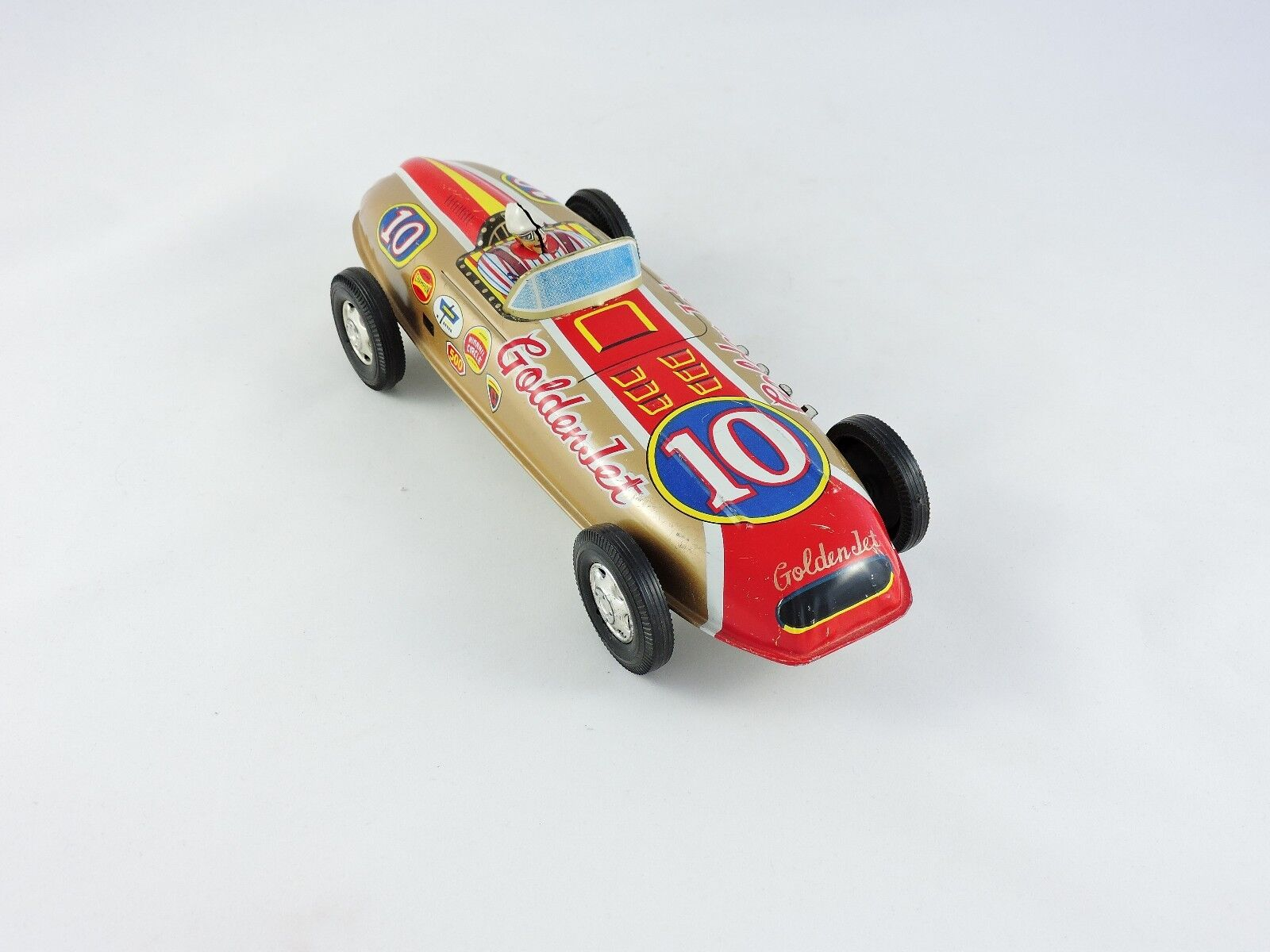 golden Jet Racer Nishimura SN Japan tin Friction race Car 10-in vintage toy