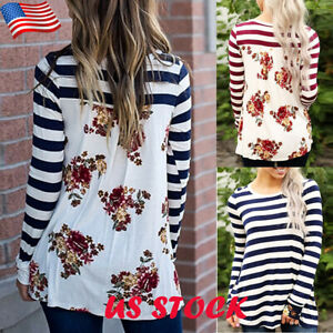 Womens-Striped-Back-Floral-T-shirt-Lady-Casual-Long-Sleeve-Tops-Crew-Neck-Blouse