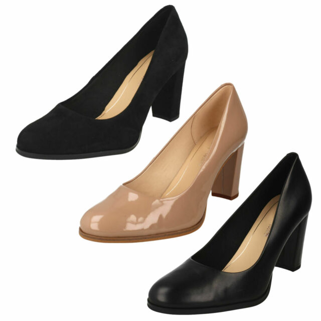 LADIES CLARKS LEATHER SLIP ON HIGH HEEL DRESS COURT SHOES SIZE PUMPS KAYLIN CARA