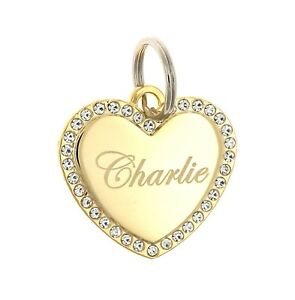 Custom-Engraved-Personalized-Gold-Plated-Heart-CZ-Stones-Dog-Pet-ID-Bling-Tag