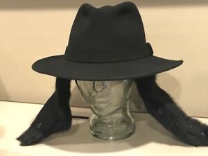 0cc45a79969ee  115 Bailey Black Empire Fedora Ear Flaps Fur Hat 100% Wool Large ...