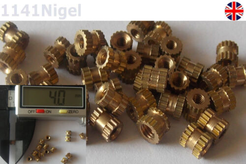 -3.5mm​ L OD 100pcs Metric Thread Brass Knurl Nuts M2.5*4mm