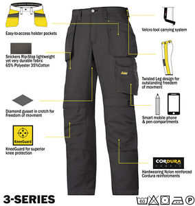 Men's Clothing 3213 Protective Suits & Coveralls Snickers Rip Stop Cordura Work Trousers With Kneepad & Holster Pockets