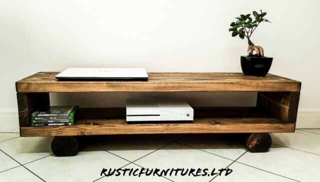 buy online bd21d bcefd TV Stand/TV Unit/Chunky Rustic Handmade Furniture/Solid Pine Wood/TV Cabinet