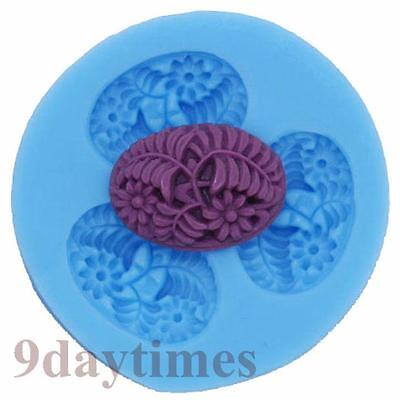 Flower Leaf Cabochon Silicone Mold For Candy Polymer Clay Cameo 25x18mm A173