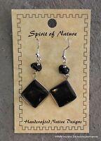 Dangle Earrings Handmade Natural Stone Look Black 2 Drop Hook Jewelry