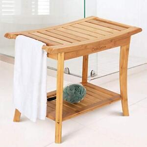 shower seat bamboo bench bathroom spa bath organizer stool