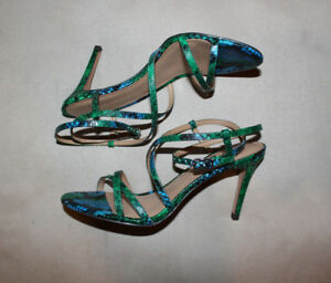 3813cf485da Details about BANANA REPUBLIC Strappy Criss Cross Green Blue Snakeskin  Heels Shoes 6.5