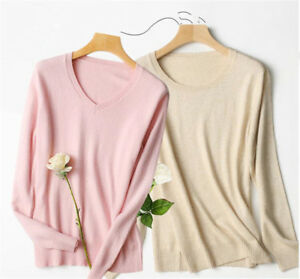 Women-039-s-V-neck-Cashmere-Sweater-Crewneck-Pullover-Knitted-Sweaters-Top-Plus-Size