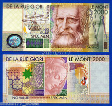 De La Rue Giori Leonardo Da Vinci 2000 Without Serial # Specimen Test Note Unc