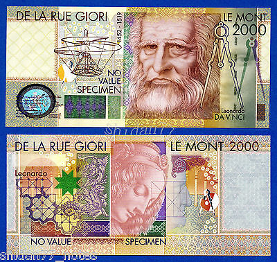 Set of 4 different De La Rue GIORI UNC Test notes