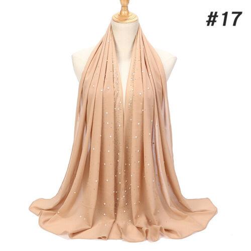 Mesdames fantaisie brillant perle en mousseline de soie foulard islamique musulman hijab wrap châle Echarpes