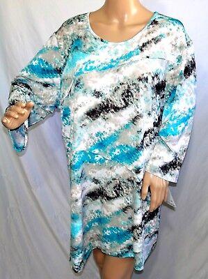 N Touch Women Plus Size 1x 2x 3x Teal Black Animal Print Tunic Top Blouse Shirt