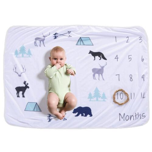 Baby Monthly Milestone Blanket For Girl Boy Floral Deer Horn Frame Newborn G3H8