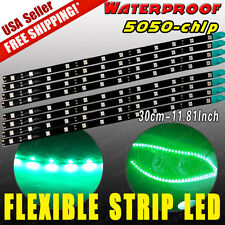 8X Vivid Green 12SMD LED 30CM Waterproof Car Motor Flexible Light Strip Bar DRL