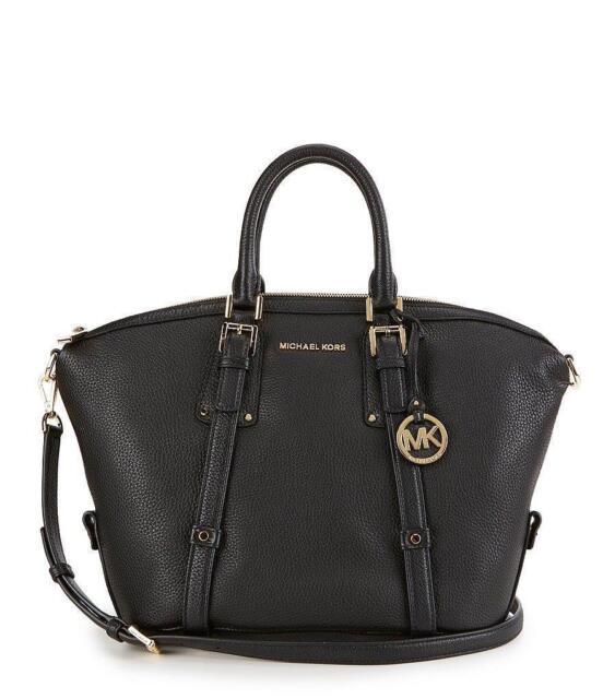 Michael Kors Bedford Belted Medium Satchel Leather 38s7gbfs2l Black