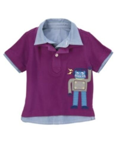 GYMBOREE DO THE ROBOT PURPLE ROBOT POLO S//S TOP 6 12 18 24 2T 3T 4T NWT