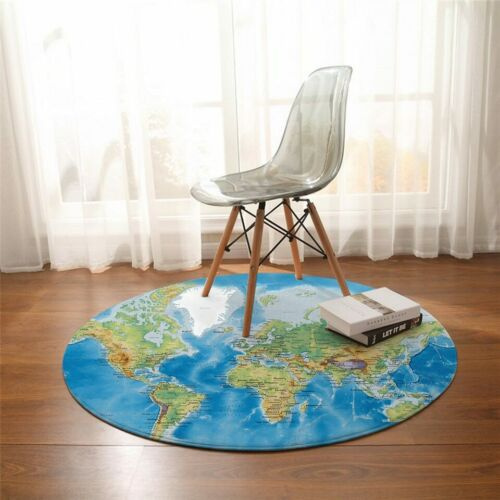 World Map Ocean Sea Blue Green Country Round Rug Carpet Mat Living Room Bedroom