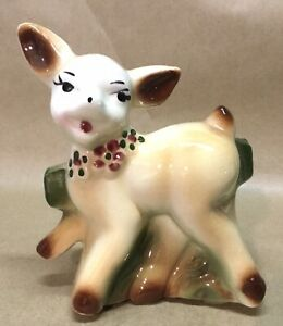 VINTAGE O.P.CO. (OHIO POTTERY CO.) CERAMIC FAWN, DOE PLANTER, VGC+