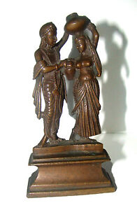 Details about A RARE & beautiful Brass Statue of Lord krishna with his  beloved Radha Krishna