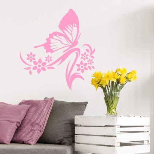 Butterfly Flowers Bedroom Living Room  Art Vinyl Decal GIFT Sticker V168