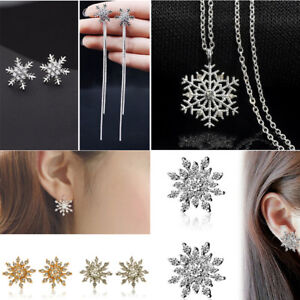 Christmas-Snowflake-Star-Rhinestone-Crystal-Necklace-Stud-Earrings-Jewelry-Set