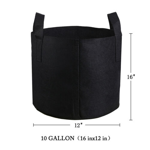 5 Pack Black Grow Bags Aeration Fabric Planter Root Growing Pots 3//5//7//10 Gallon