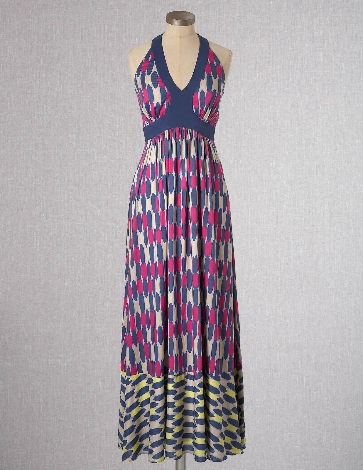 NWT Boden Floaty Viscose Halterneck Glam Summer Maxi Dress Größe US 12