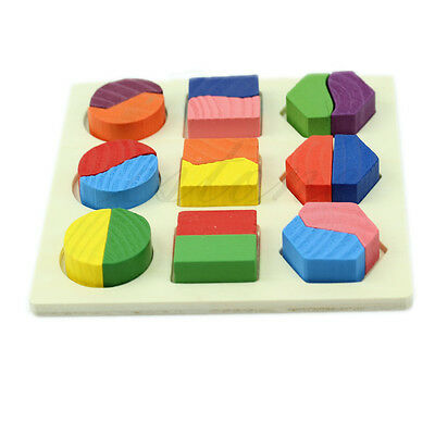 Kids Baby Wooden Learning Geometry Educational Toy Block Puzzle Montessori Early