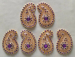 6-Hand-Beaded-Paisley-Appliques-Violet-Gems-amp-Gold-Bullion-Embroidery