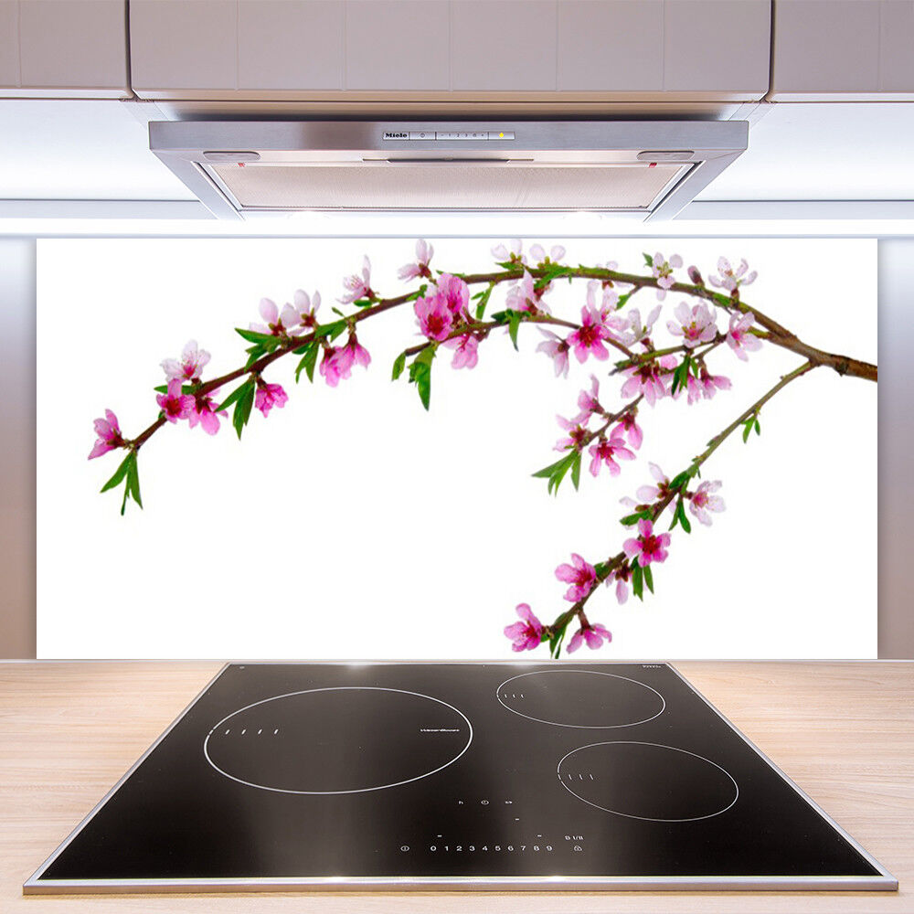 Crédence de cuisine en verre Panneau Paroi 100x50 Nature Branche Fleurs
