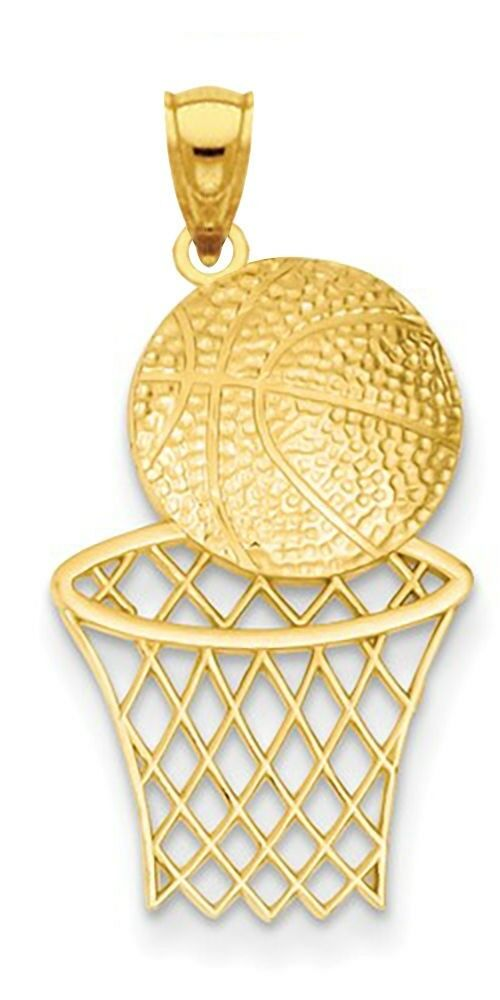 New 14k Yellow gold Basketball & Hoop Pendant Charm