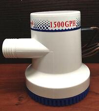 "Marine Boat 1500 GPH ABS Manual Bilge Pump 12V Straight hose Adaptor 1.2"" Hose"