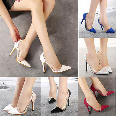 Transparent Shoes Pointed-toe High Heels Party Women OL Pumps Wet Look Stilettos