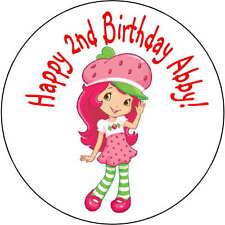 24 strawberry shortcake stickers Birthday Party 1.67 Inch Personalized