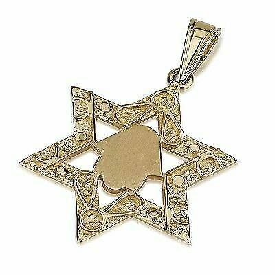 Charm 14K Yellow Gold HAMSA HAND WITH STAR OF DAVID Pendant Made in USA