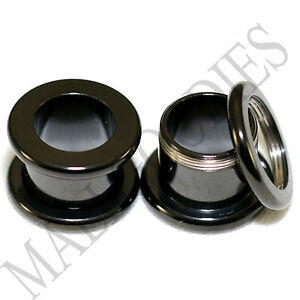 1466-Screw-on-fit-Black-7-16-034-Inch-11mm-Flesh-Tunnels-Ear-Plugs-Earlets-Steel