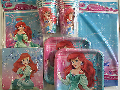 LITTLE MERMAID SPARKLE - Disney Birthday Party Supply Set Pack w/ Treat Bags